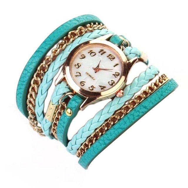 Watch Women Luxury Watches Women Braided winding Rivet Bracelet Dress Gift Leather Quartz Wristwatches Relojes Mujer  #D