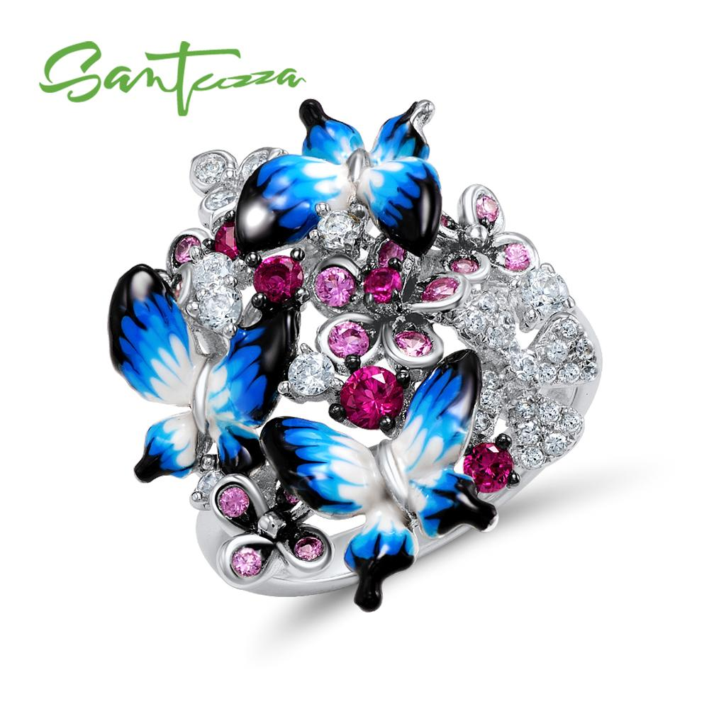 SANTUZZA Silver Ring For Women 925 Sterling Silver Glamorous Butterflies Shiny Cubic Zirconia Ring Fashion Jewelry Enamel