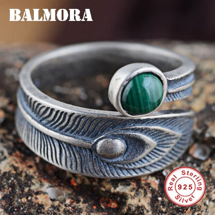 BALMORA 100% Real 925 Sterling Silver Jewelry Malachite Open Rings for Women Men Gift High Quality Free Shipping Bijoux SY20700