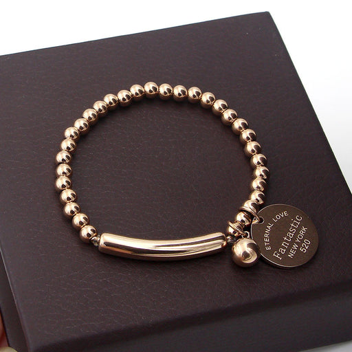 """Fantastic Eternal Love New York"" Stainless Steel Ball Beads Bracelet For Women Circle Tag Charm Stretch Strand Bracelet K0001-2"