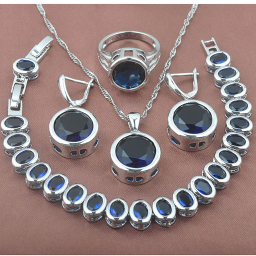 Classic Blue Stone Zirconia Women's 925 Sterling Silver Jewelry Sets Bracelet Necklace Pendant Earrings Ring YZ0371