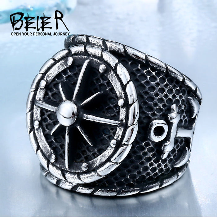 BEIER Cool Big Movie  Ring For Man Titanium Steel Rock Punk Unique Biker Fashion Punk Jewelry Drop shipping BR8-341