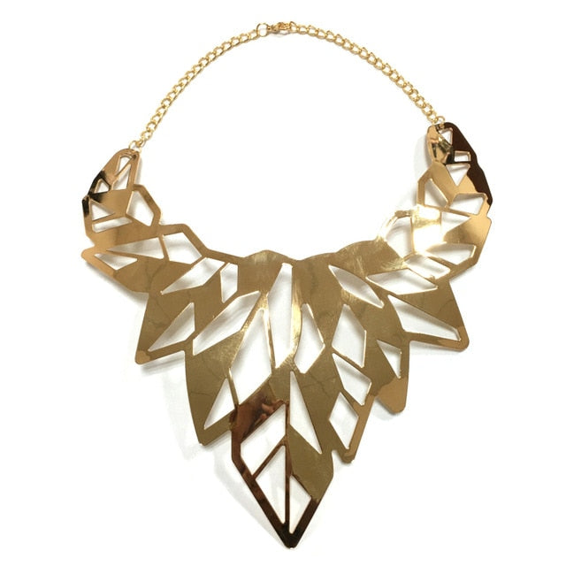 MANILAI Hollow Design Alloy Punk Choker Necklaces Women Collar Big Torques Statement Necklaces Maxi Jewelry Gold Color