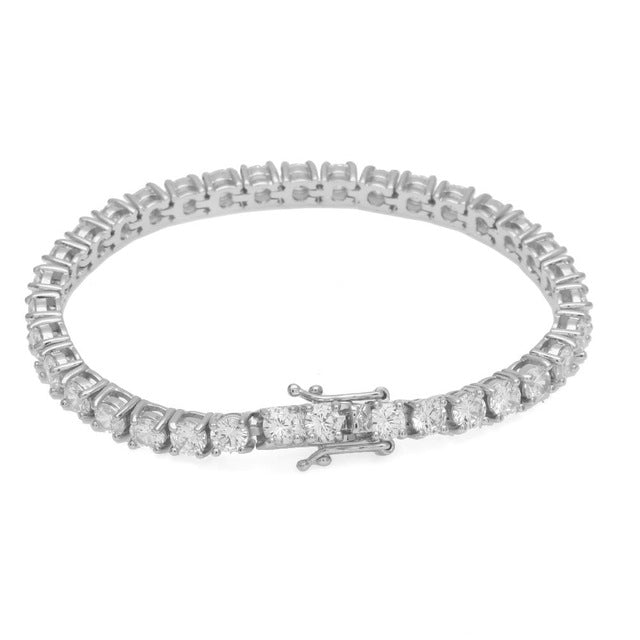 Round Cut Tennis Bracelet 5mm Zirconia Triple Lock Hiphop Jewelry 1 Row Cubic Luxury Crystal CZ Men Fashion Charm Bracelets