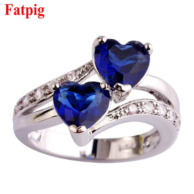 Fatpig Double Heart Rhinestones Ring Women Wedding Engagement Rings Size 6 7 8 9 10 11 12 Silver Plated Rhinestone Rings