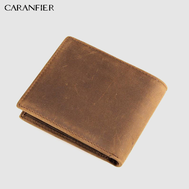CARANFIER 2018 Men Wallets Top Quality Men Purse Genuine Cow Leather Wallet Short Bi-fold Men Coin Purse Credit Card Holder Bag