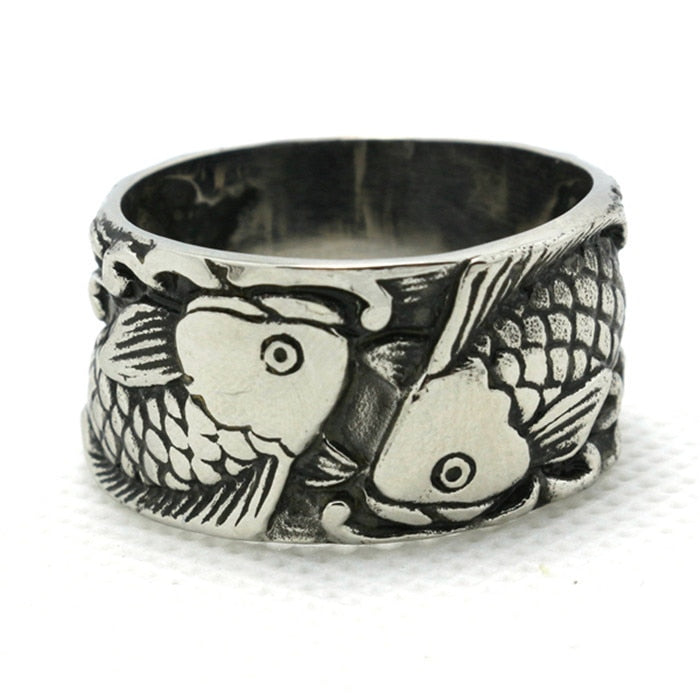 1pc Hot Design !! Punk Style Biker Animal Fish Mens Boy Ring 316L Stainless Steel Unique Ring