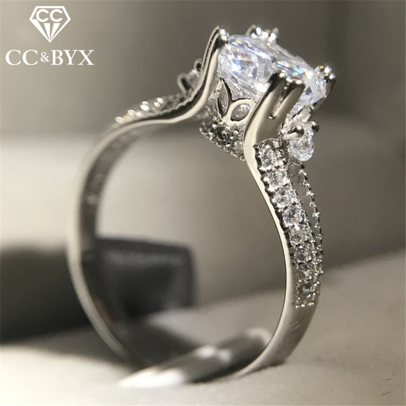 CC S925 Silver Rings For Women Vintage Palace Engagement Ring Bridal Wedding Simple Jewelry Cubic Zirconia Bijoux Femme CC1425