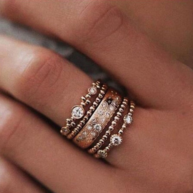 Bohemian Boho Gold Ring Set with Crystal for Women Fashion Beach Party Jewelry 2018 Hot Sale
