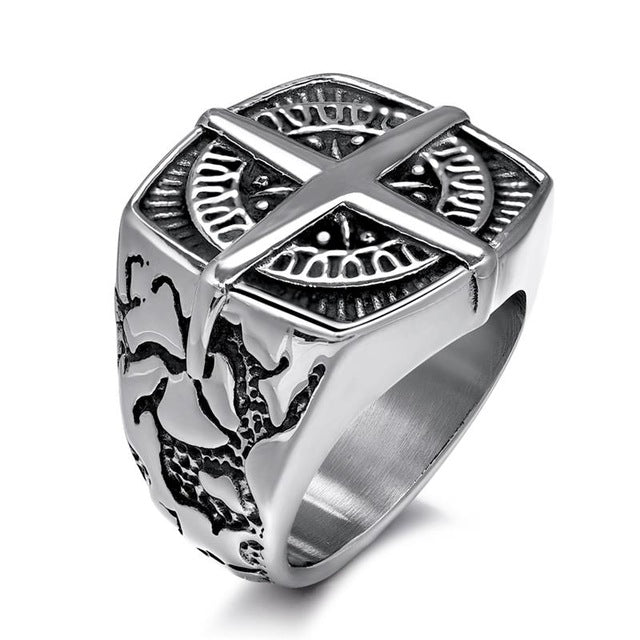 Jiyaiqi Men's Ring Vintage Silver Stainless Steel Compass Style Fashion Men Party Ring Male jewelry Rings