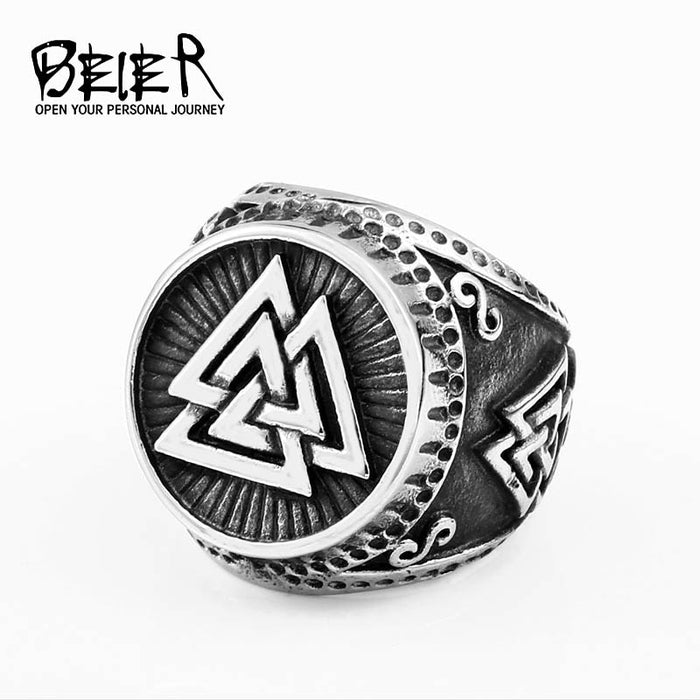 BEIER Norse viking design Vintage talisman stainless steel ring Nordic 316l steel man finger jewelry new arrival dropshipBR8-619