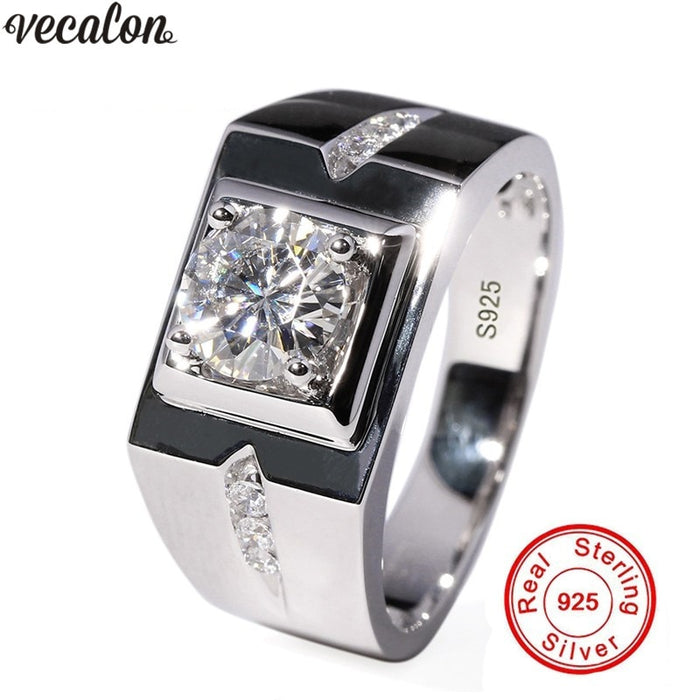 Vecalon solitaire rings for men Pave setting 0.8CT AAAAA cz Sona Stone 925 Sterling silver male Engagement wedding ring