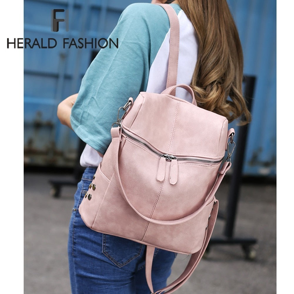 Herald Fashion Women Backpack Quality Leather School Bags For Teenager  Girls Large School Backpack Vintage Solid Shoulder Bags