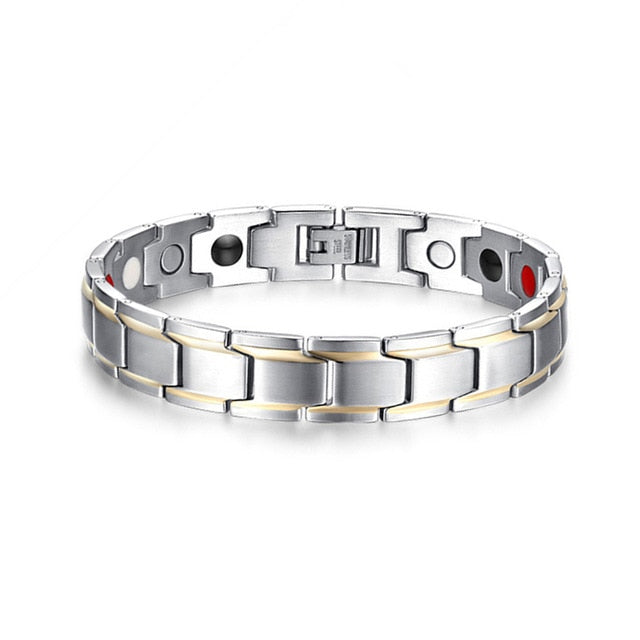 Vinterly Black Magnetic Bracelet Men Stainless Steel Energy Germanium Magnet Health Bracelets Men Hand Chain Bracelets for Women