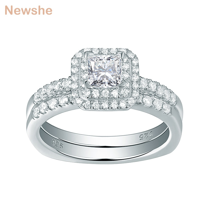 Newshe 2 Pcs Halo Wedding Ring Set White Princess Cut AAA CZ 925 Sterling Silver Engagement Rings For Women Gift Jewelry 1R0057