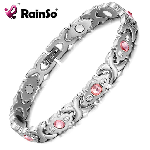 RainSo Female Bracelet Shiny crystal Stainless Steel Fashion Health Jewelry Magnetic Hologram Bracelet Charm Chain & Link Bangle