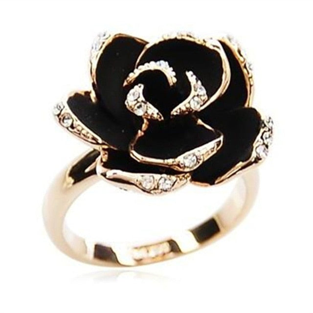 Hot Sale Fashion Jewelry Rings  Black Rose Flower Opening Rings Index Finger Adjustable Rings For Woman Girls Gift