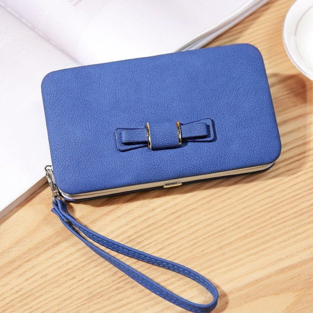 Herald Fashion Women Leather Wallets with Bow Female Zipper Purse Long Card Holders Ladies Phone Wallets Clutch Money Purses