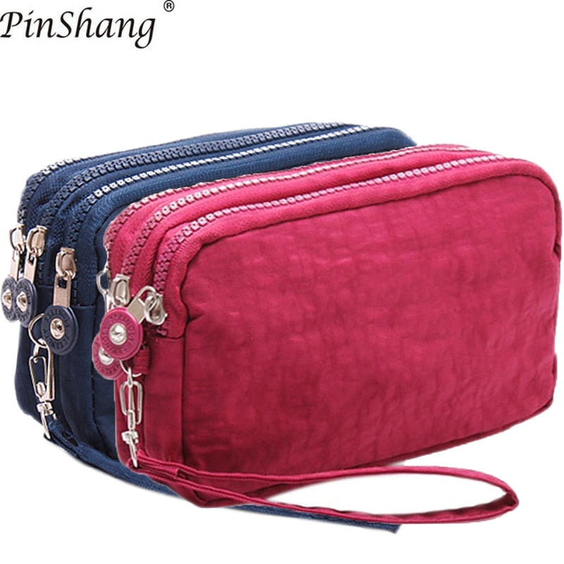 2018 Women Wallets Phone Wallet Package 3 Layers Handbag Fashion Quality Small purse For Women Money Bag Double Zipper ZK30