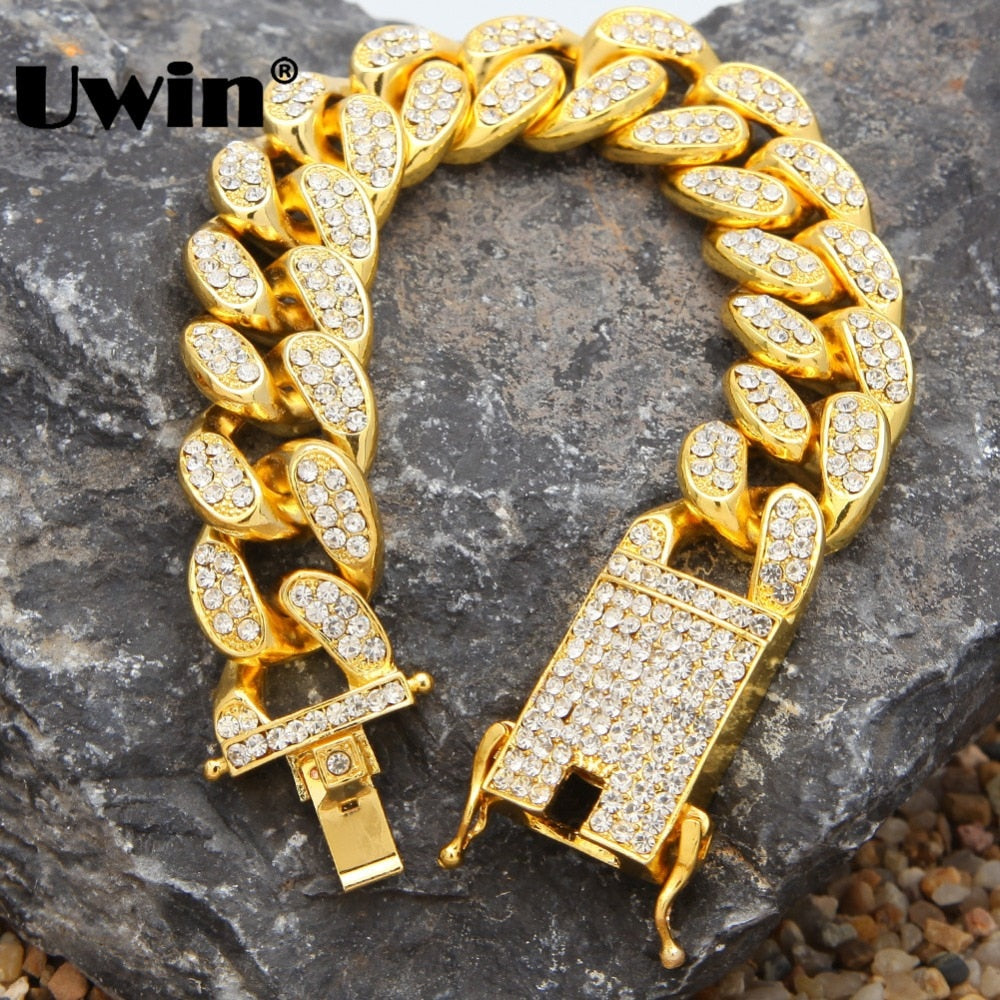 Uwin Fashion Hiphop Heavy Luxury Bracelets For Men 20mm Miami Cuban Link Gold Color Bracelet Jewelry Full Iced Out Rhinestones