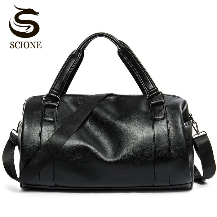 New Men Travel Duffle Bag PU Leather Men's Travel Bags Black Shoulder Handbag Round Bucket Shape Messenger Bag Tote JXY814