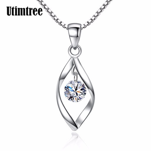 Utimtree 925 Sterling Silver Necklace And Pendants Jewelry For Women With Box Chain Luxurious Big CZ Crystal Stone Necklaces