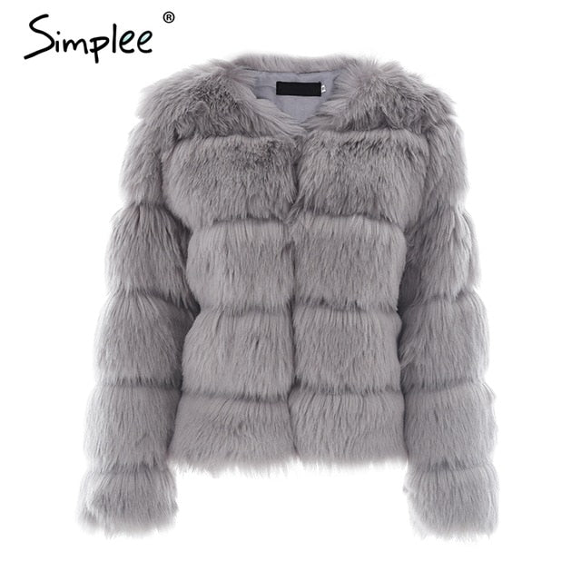 Simplee Vintage fluffy faux fur coat women Short furry fake fur winter outerwear pink coat 2018 autumn casual party overcoat