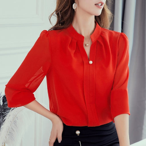 Casual Tops Plus Size Women Blouses Spring Autumn Shirt Black White Chiffon Shirts Office Work Slim Lapel Long Sleeve Blusas Top