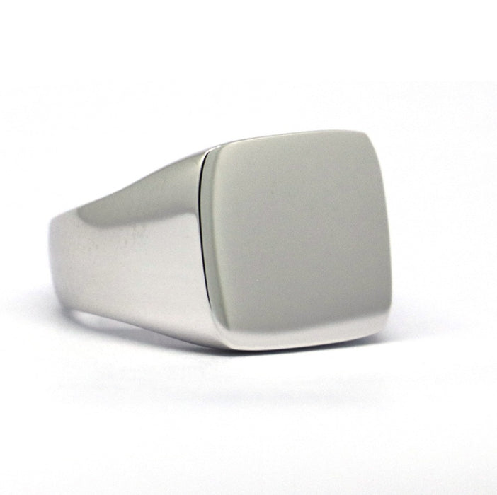 Engravable Genuine 925 Sterling Silver Mens Plain Square Signet Ring