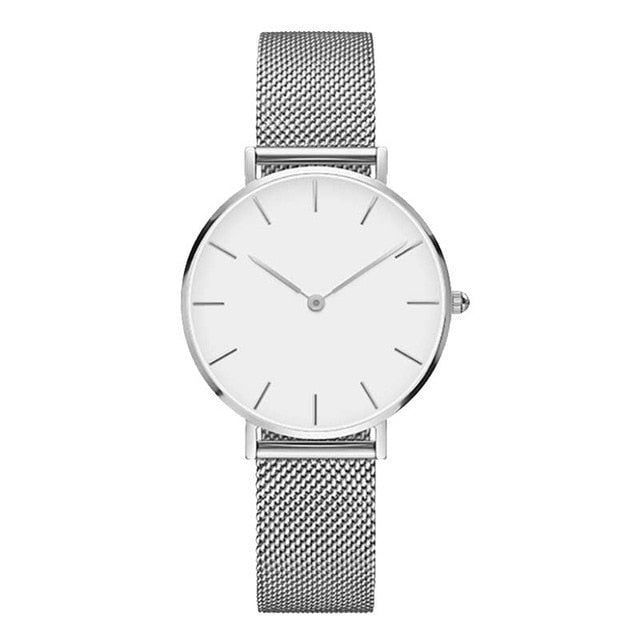 Fashion Big Brand Women Stainless Steel Strap Quartz Wrist Watch Luxury Simple Style Designed Watches Women's Clock