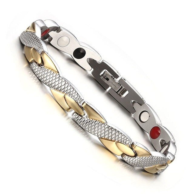 Vinterly Energy Magnetic Bracelet Men Gold Chain Germanium Bracelet Male Hologram Stainless Steel Bracelets Bangle for Women Men