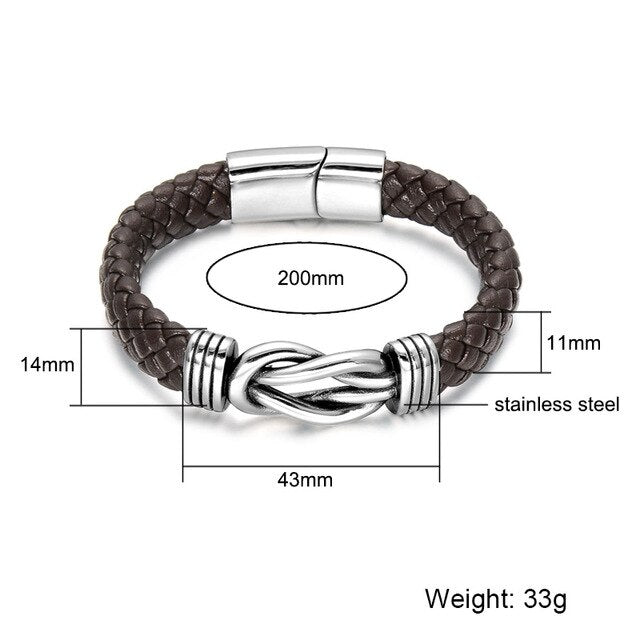 US7 Infinity Symbol Stainless Steel Genuine Leather Bracelet Vintage Wrap Tribal Braided Knot Bracelets Bangles For Men Jewelry