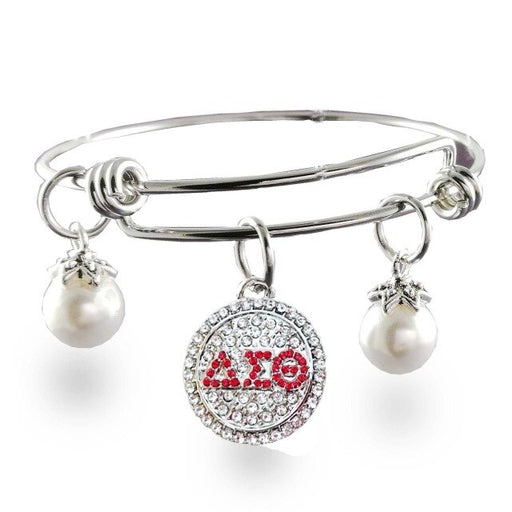 greek Adjustable stainless steel Delta Sigma Theta Sorority charm DST expandable Bangle