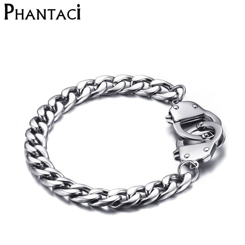 No Fade Cool Men Handcuffs Bracelet Stainless Steel Link Chain Bracelets Jewelry Mens Charm Wrap Bracelet