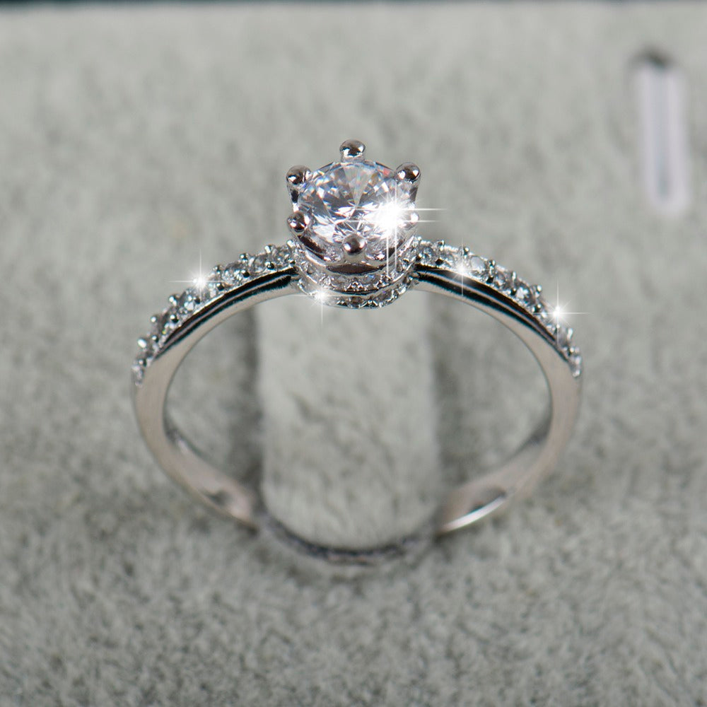 2018 NEW design Fashion Jewelry Luxury Women Engagement ring 925 sterling Silver 5A Zircon Wedding crown Rings