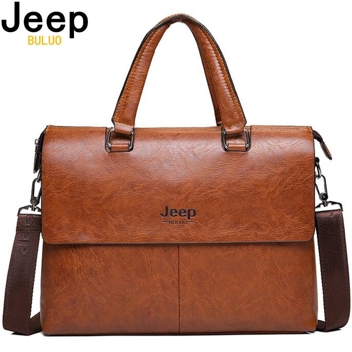 "JEEP BULUO Men's Briefcase Fashion Handbags For Man Sacoche Homme Marque Male leather Bag For A4 Documents 13"" Laptop 6015"