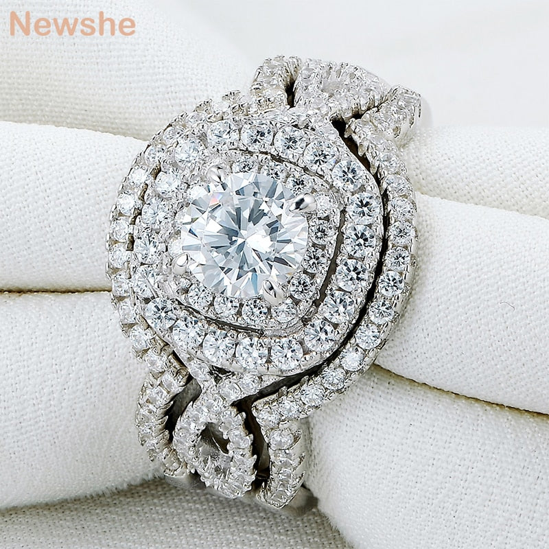 Newshe 3Pcs 925 Sterling Silver Wedding Rings For Women 2.1Ct AAA CZ Engagement Ring Set Classic Jewelry Size 5-12
