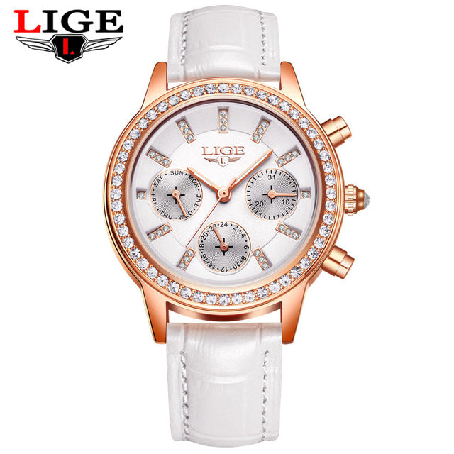 2018 Ladies Leather Watches Luxury Brand Women Dress Quartz-Watch Student Diamond Females Wristwatch Girl Clock Relogio feminino