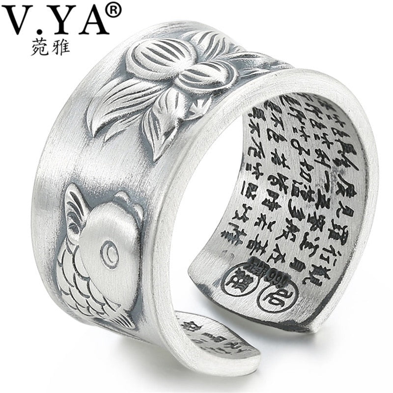 V.YA Thai Silver Fish & Lotus Flower Rings for Women Men Original 990 Sterling Silver Jewelry Adjustable Size