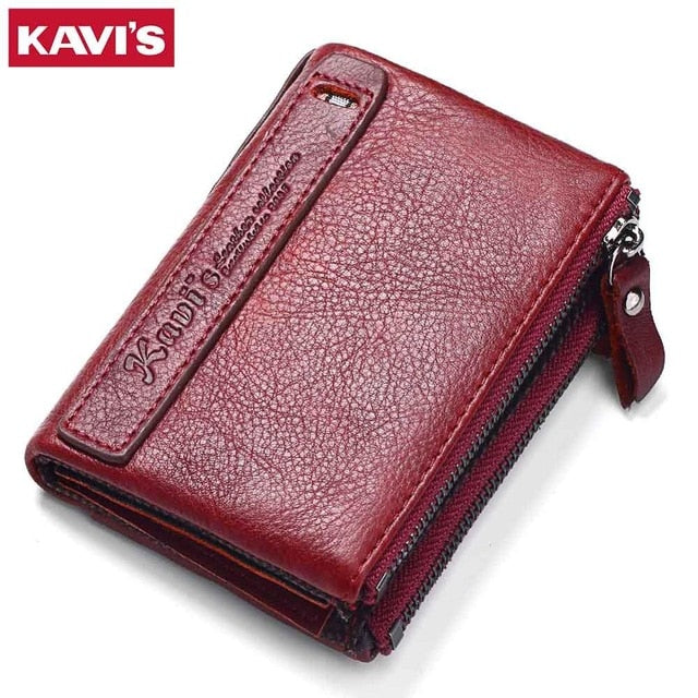 KAVIS 100% Genuine Leather Vintage Small Women Wallets Female Womens Wallet Zipper Design With Coin Purse Pockets Mini Walet