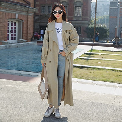 new arrival women fashion holiday comfortable loose trench coat professional OL temperament solid girls warm outdoor long trench