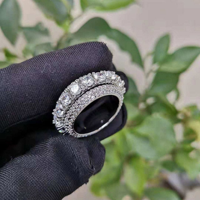 Hip Hop Bling Ice Out AAA Cubic Zirconia CZ Ring for Men Women Spinner Geometric Round Gold Rings High Quality Party Jewelry