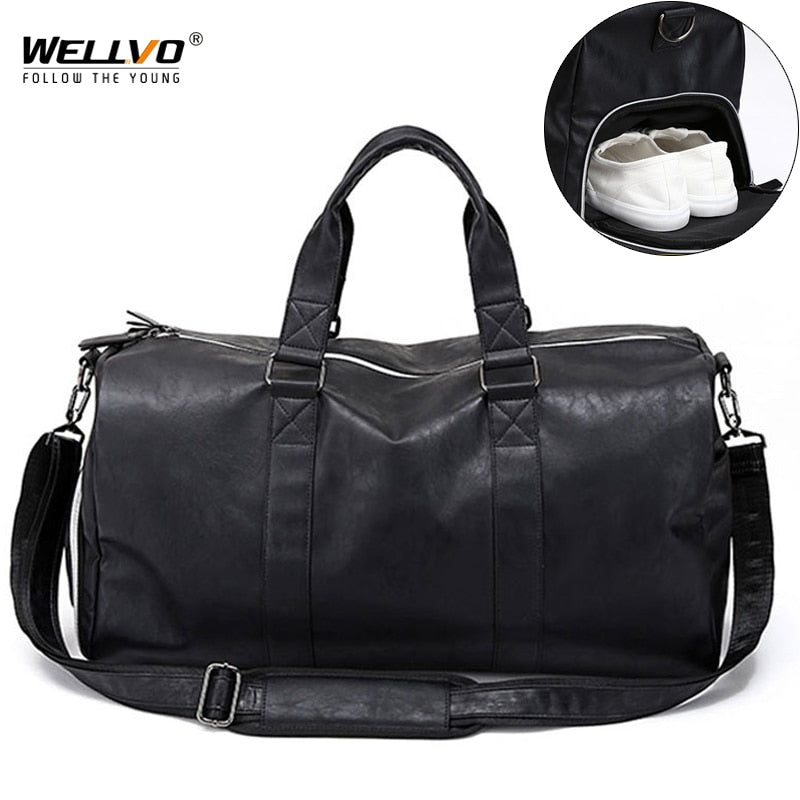 Male Leather Travel Bag Large Duffle Independent Shoes Storage Big Fitness Bags Handbag Bag Luggage Shoulder Bag Black XA237WC