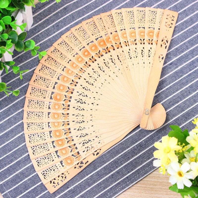 Hand-made Wooden Folding Fan Hollow Wood Carving Craft Fan Aroma Floral Pattern Ladies Temperament Dance Performance Wooden Fan