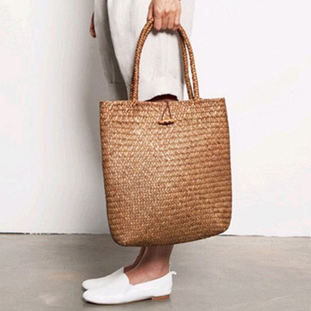FGGS-Women Handbag Summer Beach Bag Rattan Woven Handmade Knitted Straw Large Capacity Totes Women Shoulder Bag Bohemia New