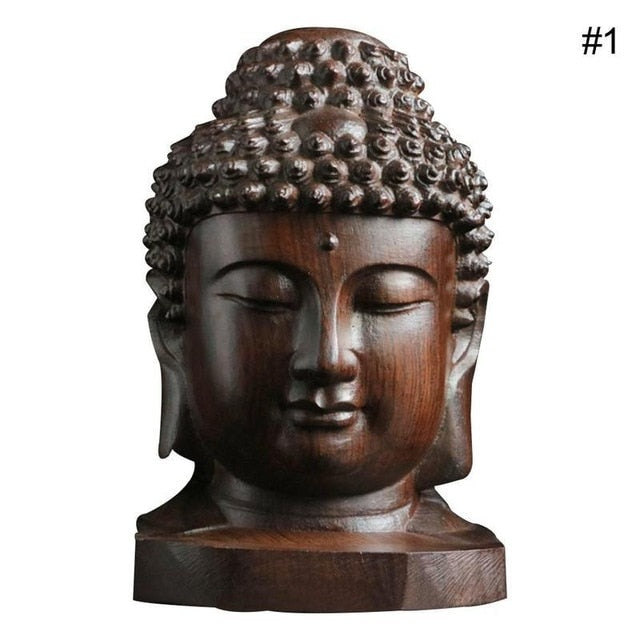 6cm Buddha Statue Wood Wooden Sakyamuni Tathagata Figurine Mahogany India Buddha Head Statue Crafts Decorative Drop Shipping