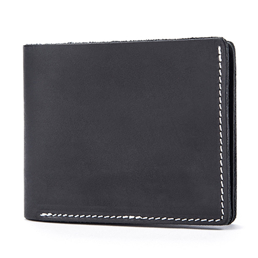 La MaxZa Genuine Leather Men Wallets Short Design ID Card Holder Waterproof Black Male Wallet Casual Top Quality Men Purse