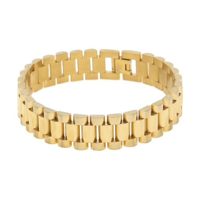 Classic Mens Wristband Link Bracelet 15mm Top Quality Stainless Steel Watch Band Luxury Gold Silver Fashion Wrist Jewelry