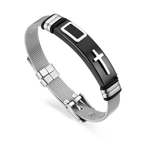 BONISKISS Unisex Classic Cross Stainless Steel Bracelet Adjustable Chain Silver Engrave  Cuff Bangle Jewelry For Women And Men