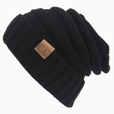 Women Winter Hat Knitted Wool Cap Beanies Unisex Casual Pure Black Color Hip-Hop Skullies Beanie Warm Men hat Christmas Gift